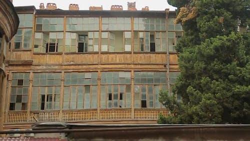 Aged Block Buildings With Broken Windows, Abandoned Slum, Poor Damaged Area