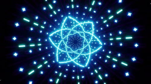Abstract Blue Flower Shape Light Tunnel Loop 4K