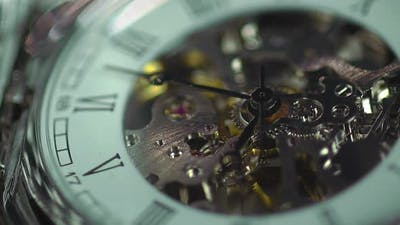 Clock closeup, eternal engine of human life, good and bad memories, thoughts