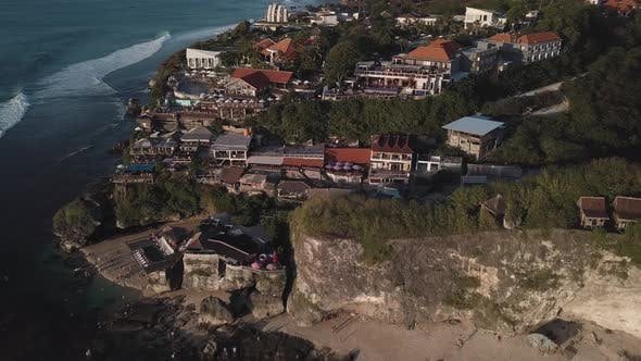 Aerial View of Famous Party Place Single Fin in Uluwatu.