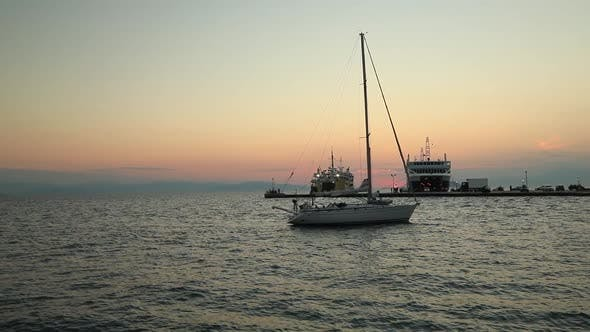 Thumbnail for Lonely Yacht Sailing on Silent Sea Aegina Island Greece