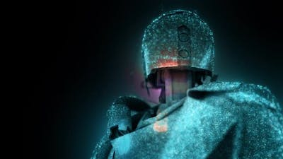Dystopian Humanoid Android Cyborg Robot Representation With Particles Hd