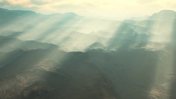 Thumbnail for Aerial Vulcanic Desert Landscape with Rays of Light