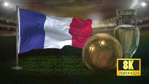 8K France Flag With Football and Cup Background Loop
