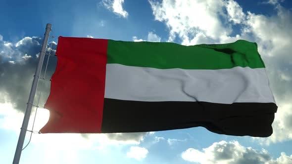 Flag United Arab Emirates Waving Wind Slow Blue Sky