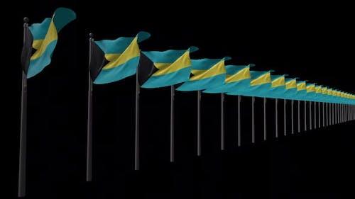 Row Of Bahamas Flags With Alpha 2K