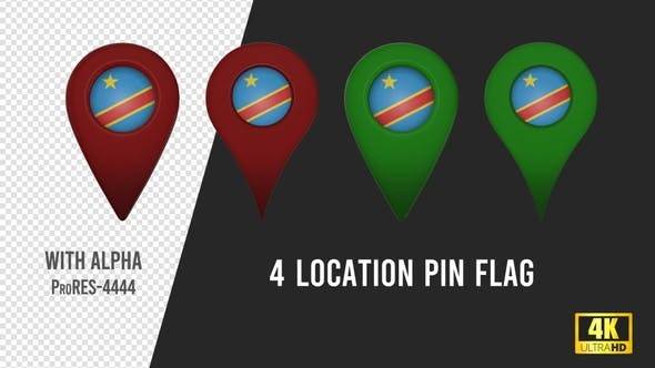 Thumbnail for Congo Democratic Flag Location Pins Red And Green
