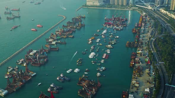 Thumbnail for Hong Kong Aerial View with Boat and Sea