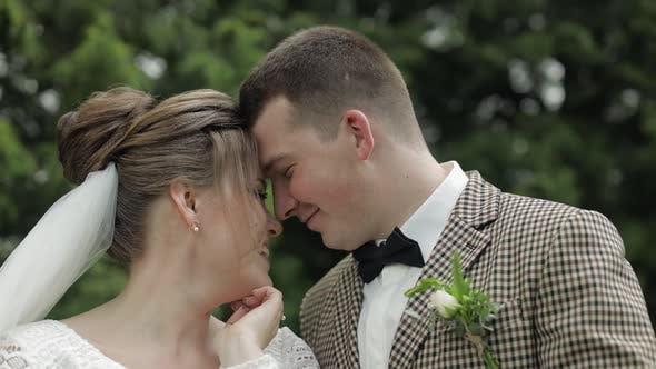 Newlyweds. Caucasian Groom with Bride Walking, Embracing, Hugs in Park. Wedding Couple