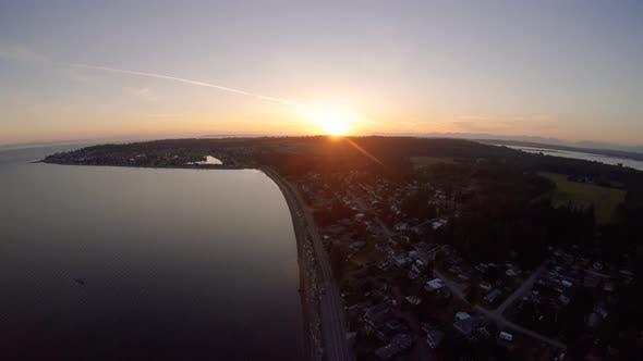 Thumbnail for Establishing Rural Oceanside Town Sunset Aerial