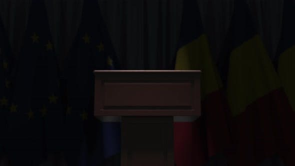 Flags of Romania and the EU at International Meeting