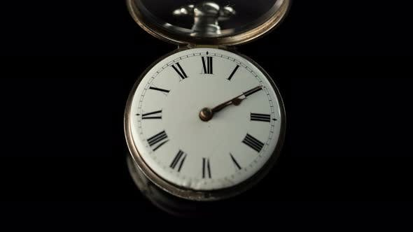 Thumbnail for Old Vintage Clock Mechanism Watch Time Going Fast . Black Background. Time Lapse