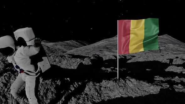 Astronaut Planting Guinea Flag on the Moon