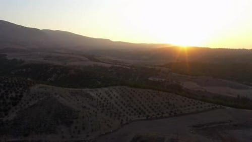 Aerial Panoramic View of a Beautiful Mountain Valley at Sunset