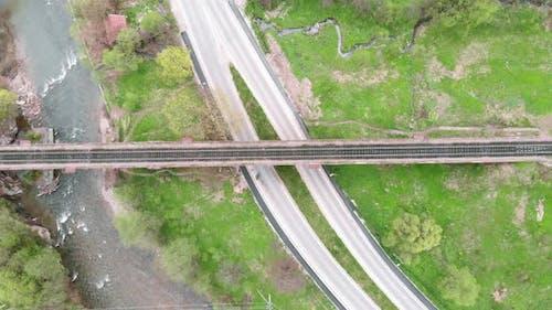 Top view of railway bridge