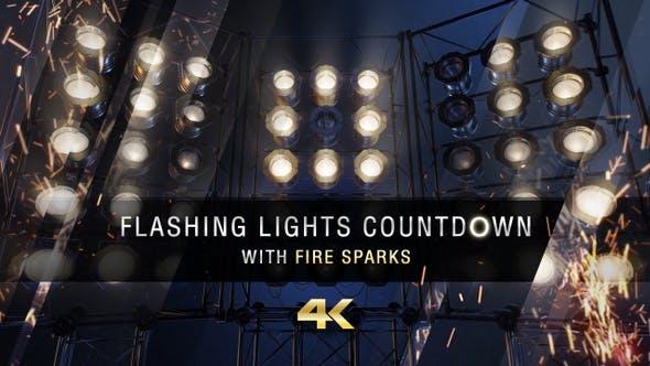 Blinkende Lichter Countdown mit Feuerfunken