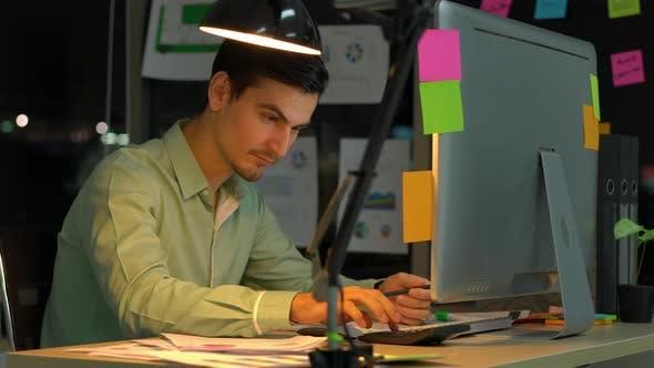 Man working with desktop