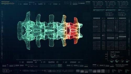 Futuristic Biomedical Vertebral Column Diagnostic HUD 02