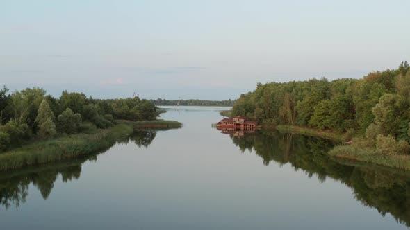 Drone Flight Over Pripyat River in Chernobyl Zone