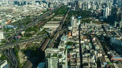 time lapse of Bangkok city downtown skyline and expressway road