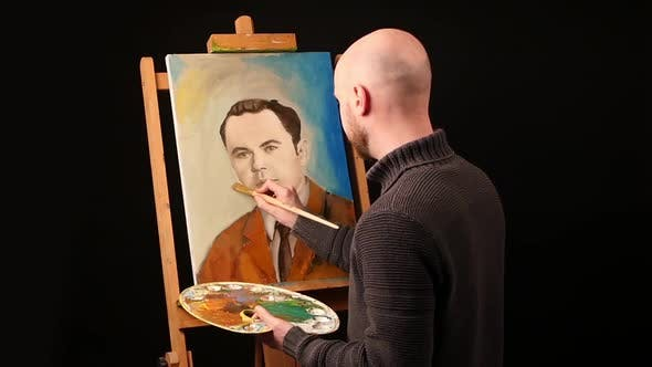 Thumbnail for Talanted Artist Paints a Picture, Man, of Oil Paint Brush with Palette in His Hand, on Easel