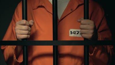 Imprisoned Male Standing Behind Jail Bars