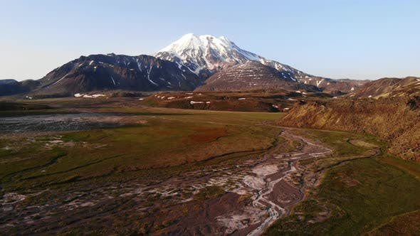 Thumbnail for Aerial Survey - Volcanic Landscape in the Area of Ichinsky Volcano, Kamchatka Peninsula, Russia