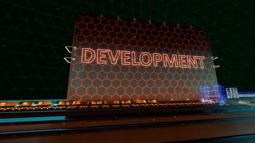 Computer Development Coding Typohraphy and Script Words on Digital Futuristic Circuit Board