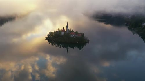 Flying over lake Bled on a beautiful morning