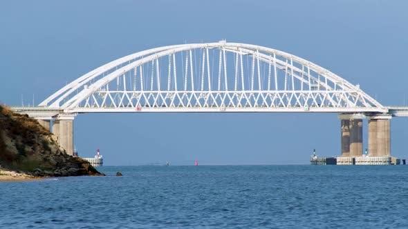 Thumbnail for Beautiful seascape with white huge bridge