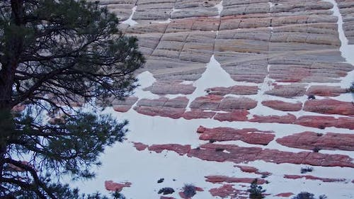 Looking up the Checkerboard Mesa with snow in the cracks and grooves