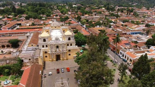 Ancient Old Antigua Guatemala City Aerial