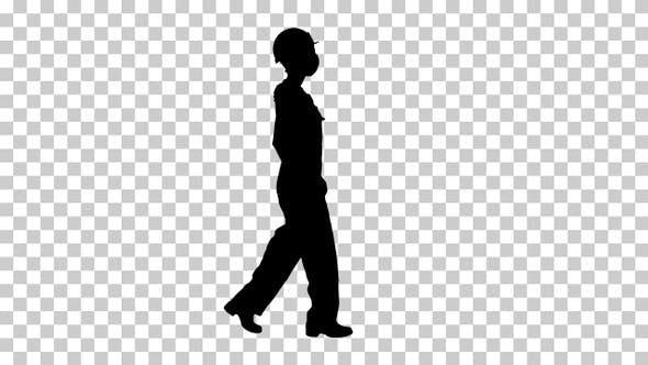 Thumbnail for Silhouette woman in hard hat and medical mask walking Alpha Channel
