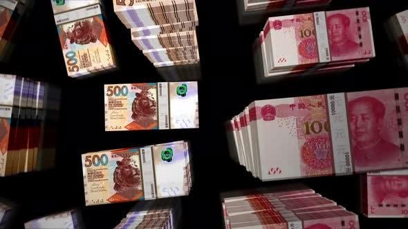 Flight over Honk Kong Dollar and Chines Yuan money banknote packs loop animation
