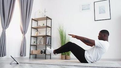 Yoga Beginner Sportive Black Man Online Training