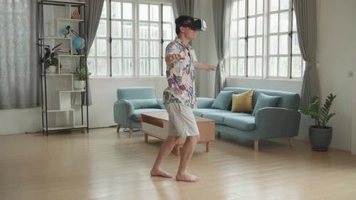 Man Acting In Virtual Reality World