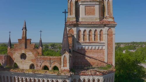 Church of St. Mary in the Neo-gothic Style in the Village of Kamenka, Saratov Region, Russia. The