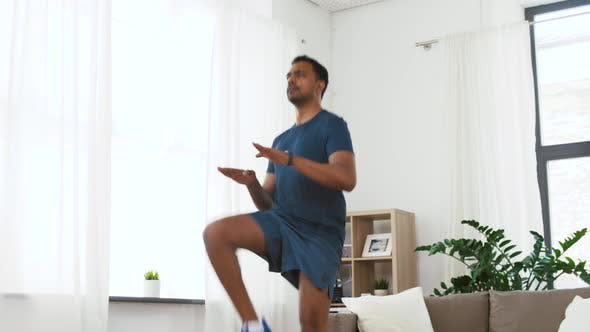 Cover Image for Indian Man Jumping on Spot at Home