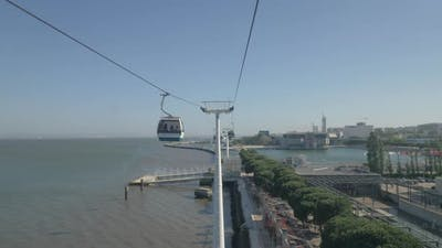 Cable car trip in Lisbon, Portugal