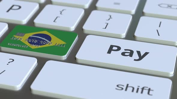 Thumbnail for Bank Card Featuring Flag of Brazil As a Key on a Keyboard