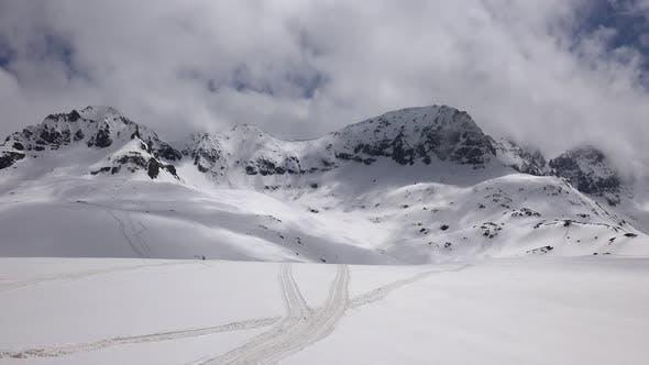 High Altitude Rocky Snowy Dome Mountain Mass
