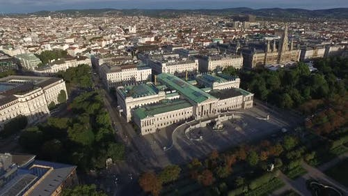 Aerial of famous buildings in Vienna