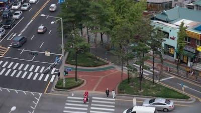 Timelapse of crossroad traffic in Seoul, South Korea