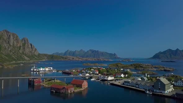 Thumbnail for Aerial View of Hamnoy City in Norway