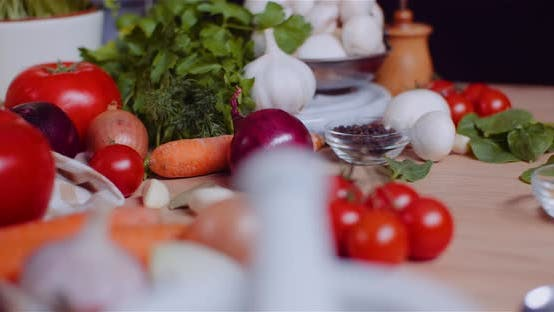 Thumbnail for Close Up of Various Vegetables on Table Rotating