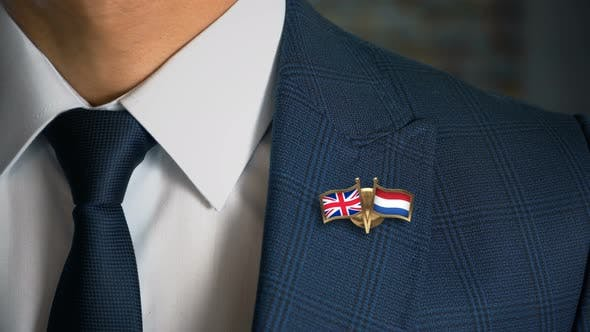 Thumbnail for Businessman Friend Flags Pin United Kingdom Netherlands