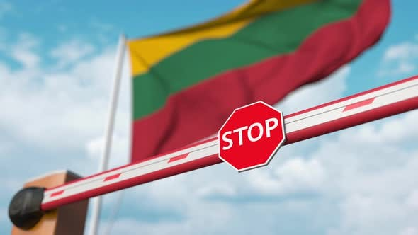 Thumbnail for Öffnung der Barriere mit Stoppschild gegen die litauische Flagge