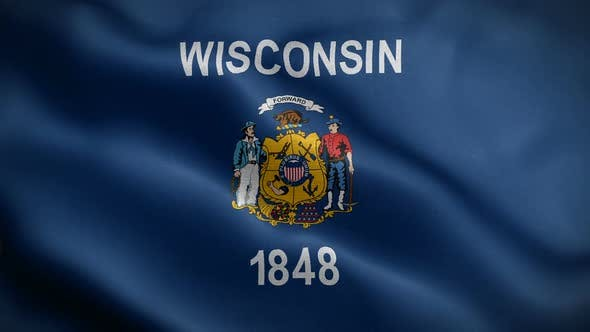 Wisconsin State Flag Blowing In Wind