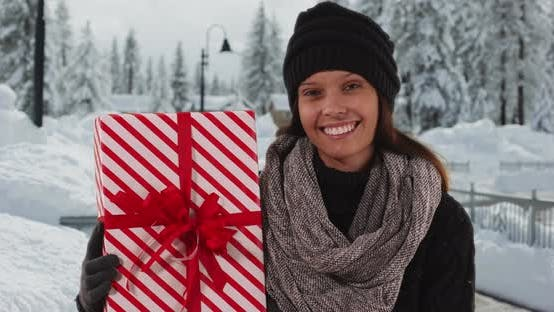 Thumbnail for Smiling portrait of Millennial girl holding Christmas gift on snowy sidewalk