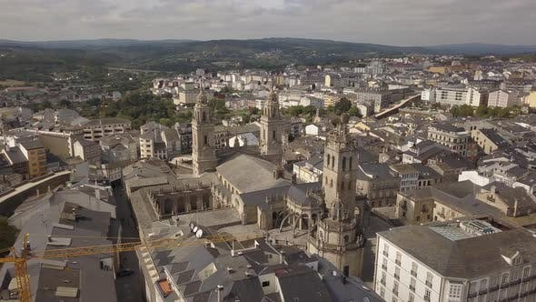 Thumbnail for Aerial View of Lugo Walled City , Galicia, Spain.